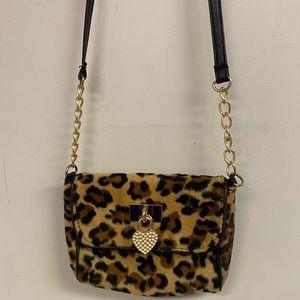 Furry Leopard Crossbody